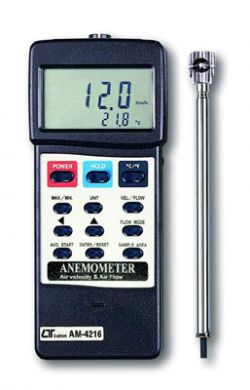Air Flow & Air Velocity Anemometer With Mini Vane - AM-4216