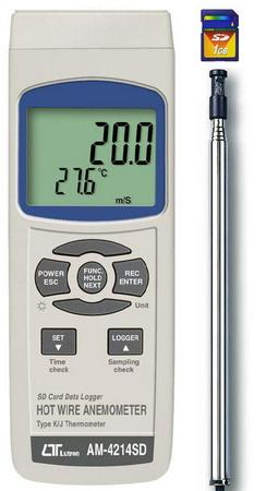 Hot Wire Anemometer Logger, K-J Thermometer, SD Card - AM4214SD