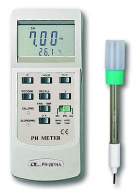 PH-207HA-Kit - pH Meter kit with PE-03 electrode, TP-07 Temperature Sensor and pH4, pH7 Buffer Solution (PH-207HA + PE-03 + TP-07 + PH-07 + PH-07)