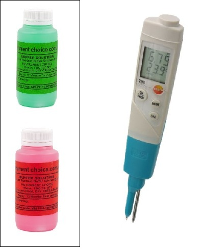 Sushi pH Deluxe Kit with Testo 206 pH2 meter, pH7-250 and pH4-250 Buffer Solution - Sushi-pH-Deluxe-Kit