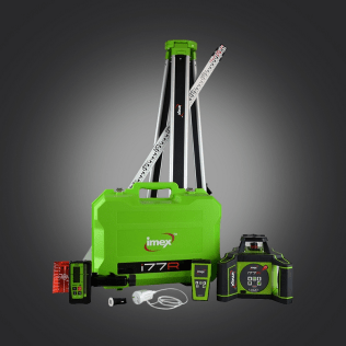 Imex i77R Rotating Laser Level - Red Beam. With Tripod and 5m Staff - IC-012-I77RK